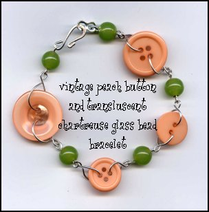 vintage peach button and chartreuse green glass bead bracelet