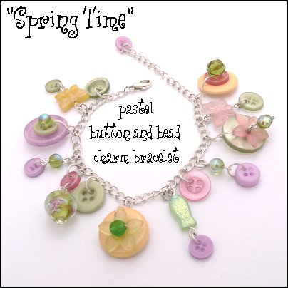 Spring Time button flowers beads and butterflies on a delicate silver chain charm bracelet