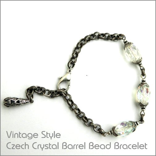 Vintage Style Czech crystal glass barrel bead bracelet with silver ox textured chain links