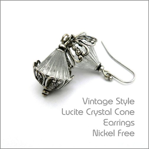 vintgage style earrings made with lucite cone beads and ornate oxidised silver beadcaps nickel free